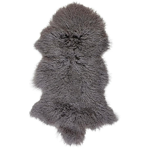 Mongolian Sheepskin Rug Grey Hides of Excellence - 60 x 100cm - Furry Sheepskin