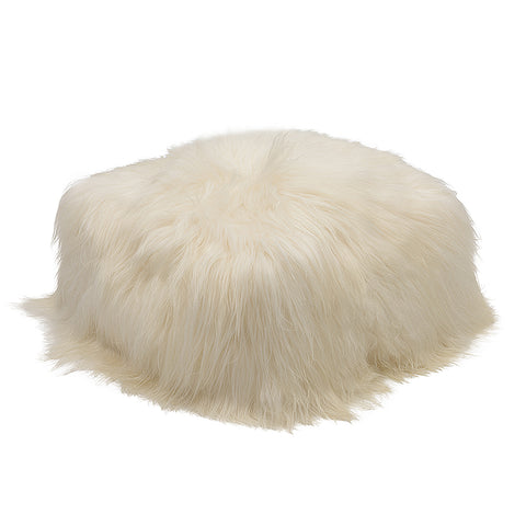 Sheepskin Pouffe White (unfilled) Hide of Excellence - Furry Sheepskin