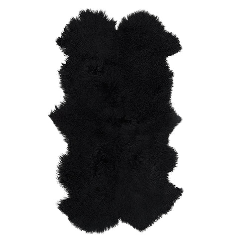 Mongolian Sheepskin Throw Rug Black Hides of Excellence - 160 x 90cm - Furry Sheepskin