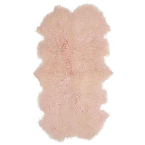 Mongolian Sheepskin Throw Rug Blush Hides of Excellence - 160 x 90cm - Furry Sheepskin
