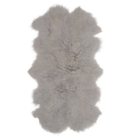 Mongolian Sheepskin Throw Rug Grey Hides of Excellence - 160 x 90cm - Furry Sheepskin