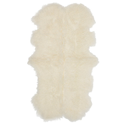 Mongolian Sheepskin Throw Rug White Hides of Excellence - 160 x 90cm - Furry Sheepskin