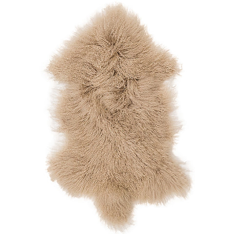 Mongolian Sheepskin Rug Fawn Hides of Excellence - 60 x 100cm - Furry Sheepskin