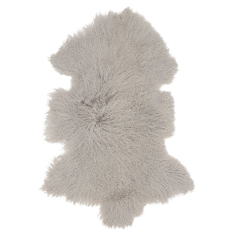 Mongolian Sheepskin Rug Light Grey Hides of Excellence - 60 x 100cm - Furry Sheepskin