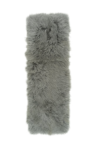 Mongolian Sheepskin Rug Grey Hides of Excellence- Single 180 x 60cm - Furry Sheepskin