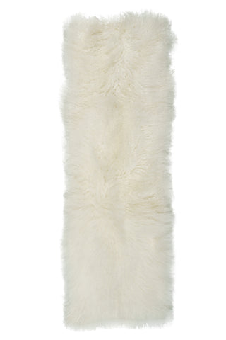 Mongolian Sheepskin Rug White Hides of Excellence- Single 180 x 60cm - Furry Sheepskin