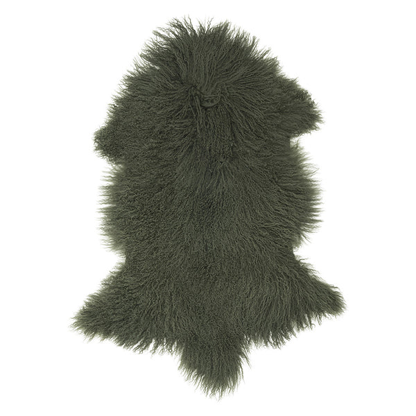 Mongolian Sheepskin Rug Olive Hides of Excellence - 60 x 100cm - Furry Sheepskin