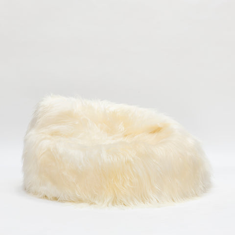Icelandic Sheepskin Beanbag White (unfilled) Hide of Excellence - 100 x 80cm - Furry Sheepskin