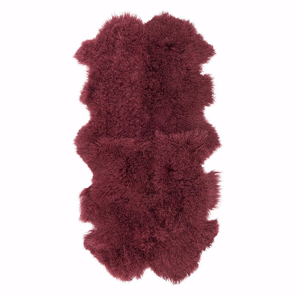 Mongolian Sheepskin Throw Rug Wine Hides of Excellence - 160 x 90cm - Furry Sheepskin