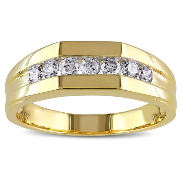 10k Yellow Gold 1/2ct Channel-Set Men's Diamond Ring - ShopVVS