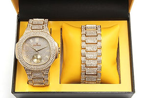Iced Out Metal Mens Watch w/Matching Iced Out Presidential Bracelet - ShopVVS