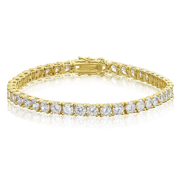 14k Gold Plated Mens Diamond Tennis Bracelet Free