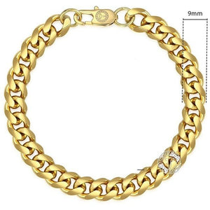 Cuban Link Bracelet 9mm 14k Gold plated