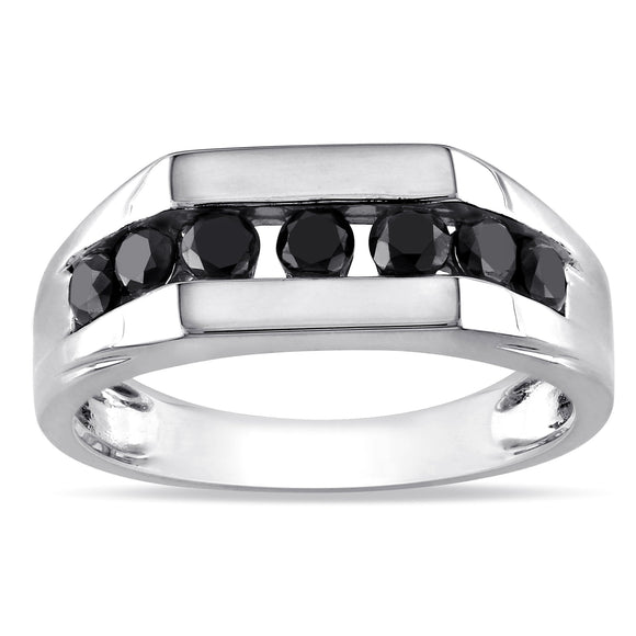 10k White Gold 1ct Black Diamond Men's Ring - ShopVVS