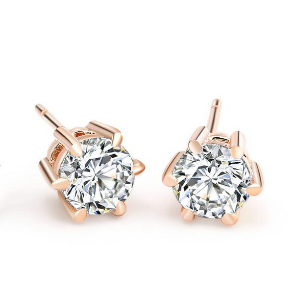 Six Prong Rose Gold Stud Earrings - ShopVVS