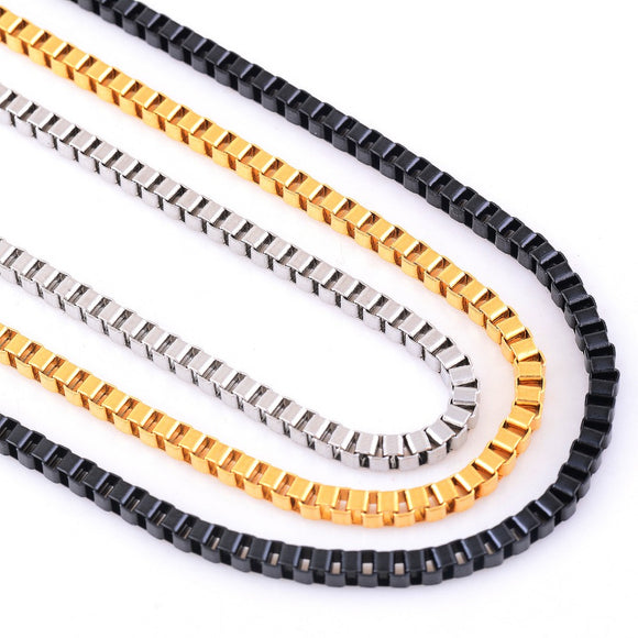 3mm Stainless Steel Box Chain Necklace - ShopVVS