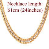 Two Tone Gold with Silver 6mm wide Link Chain Necklace - ShopVVS
