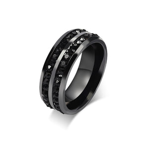 Two Row Black CZ Titanium Ring - ShopVVS