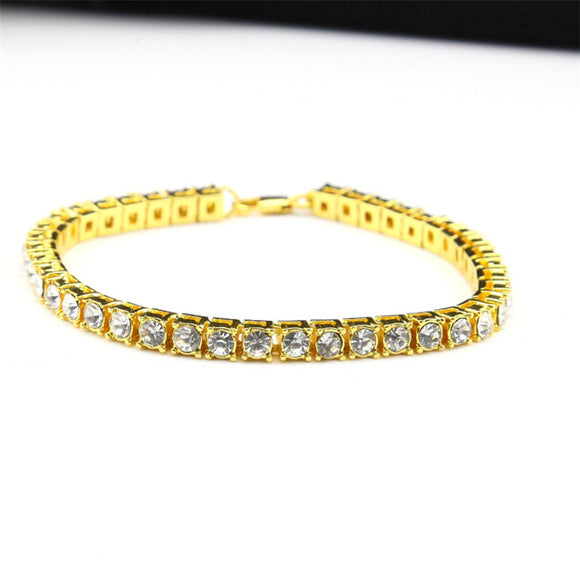 14k Gold Plated Mens Diamond Tennis Bracelet - ShopVVS