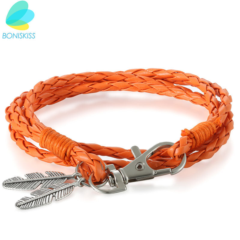 Handmade Leather Bracelet Steel Feather - ShopVVS