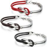 Mens Infinity Stainless Steel Leather Bracelet - ShopVVS