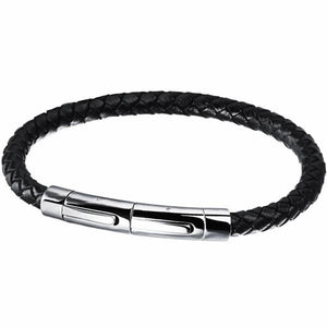 Leather with Stainless Steel Magnetic Buckle bracelet for men - ShopVVS
