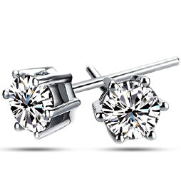 Six Prong Platinum Stud Earrings - ShopVVS