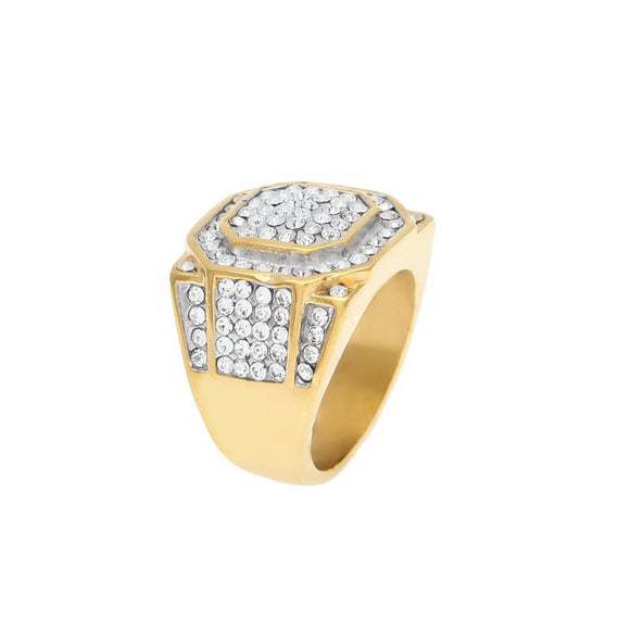 14k Gold Plated  ocagon face lab Diamond Ring - ShopVVS