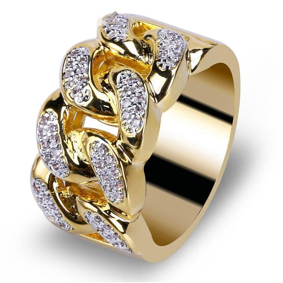 14K Gold Plated Cuban Ring w/ lab Diamond - ShopVVS