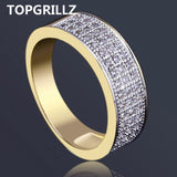 Gold Plated Micro Pave CZ Ring .7mm Partially Iced - ShopVVS