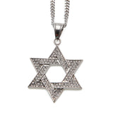 Iced out Star Of David Charm Stainless Steel Pendant w/ Cuban Chain - ShopVVS