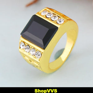 Black Rhinestone Ring with AAA quality CZ's - ShopVVS