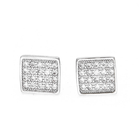 Silver Pave Stud Earrings - ShopVVS