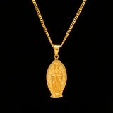 Virgin Mary Pendant w/ 3mm 24in flat cuban chain - ShopVVS