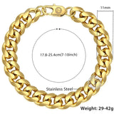 Cuban Link Bracelet 11mm 14k Gold plated