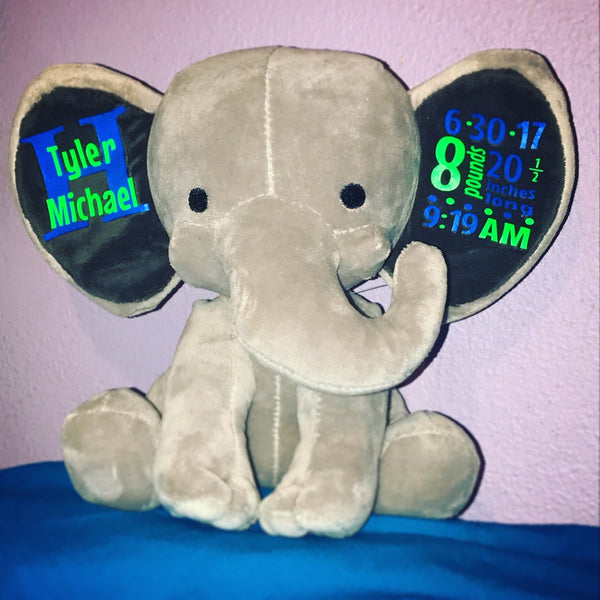 Personalized Birth Announcement Plush Elephant She Wants The