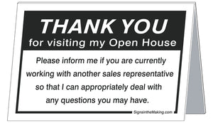 Coroplast Standup - Thank You for Visiting My Open House