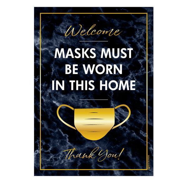 Styrene Sign - Welcome - Mask Must Be Worn In This Home - Thank You - Blue Marble