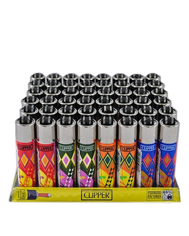 LT1001ETH: CLIPPER LIGHTERS, ETHNIC (48 Ligthers/Tray)