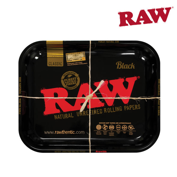 Raw Metal Rolling Tray - Classic Black Design