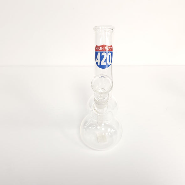 "7"" Water Pipe with Bubble base and Curved Tube"