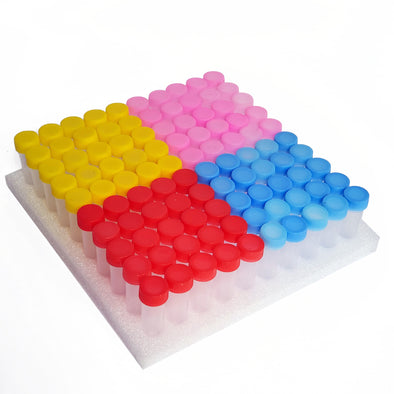 Plastic Vials with Assorted Colored Lids