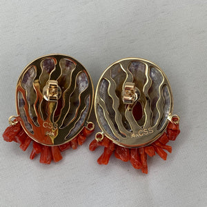 Leopard Limpet 14K Earrings with Italian Coral