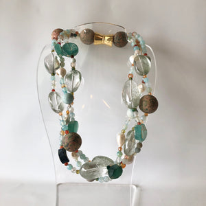 Roman Glass, Amazonite Baroque Necklace