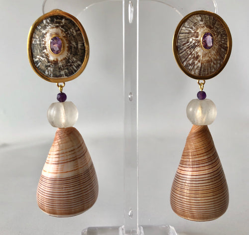 14 Karat Gold and Amethyst Earrings
