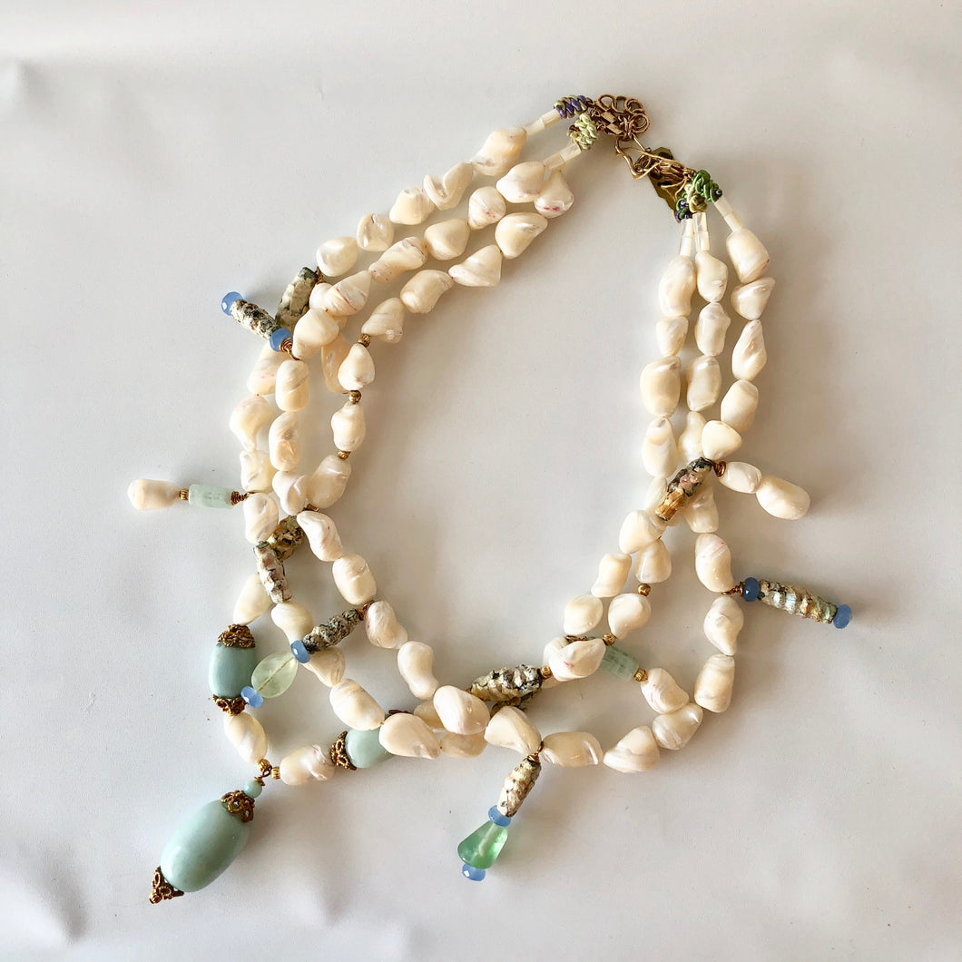 Triple-Strand Cut Shell Necklace