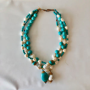 Sleeping Beauty Turquoise, Baroque Pearl and Polished Clam Shell Necklace