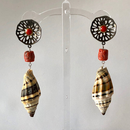 Burnished Sterling and Coral Pierced Earrings