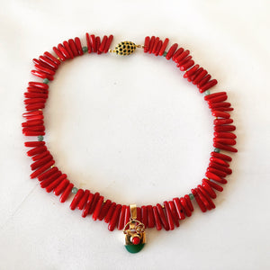 Fun Fringe Coral and Jade Necklace