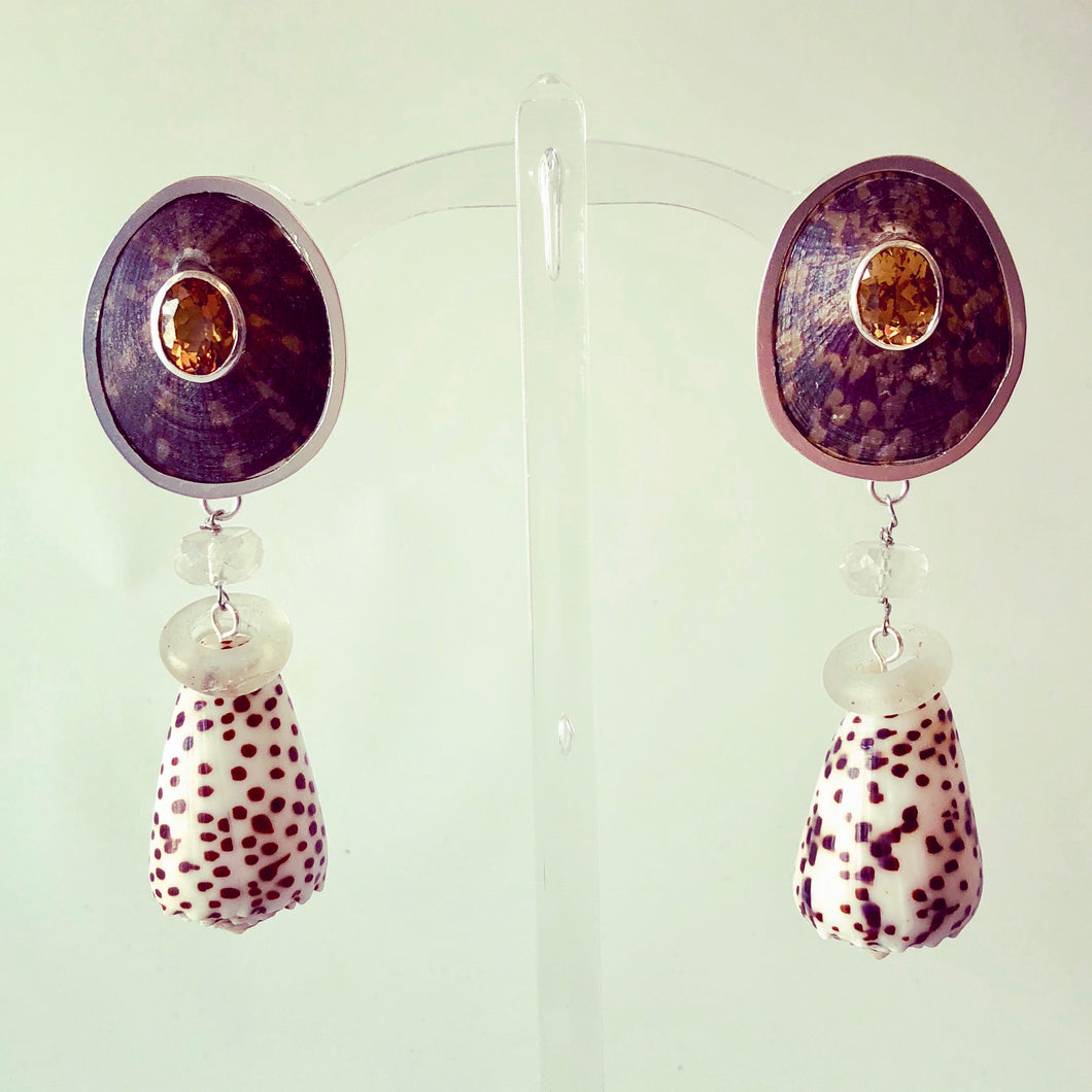 Limpet and Topaz Drop Pierced Omega Clip Earring